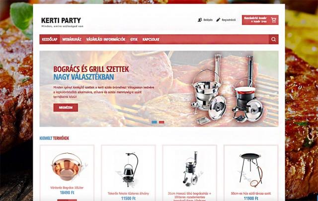 Virtuemart webáruház készítés a kerti party vállalkozás számára