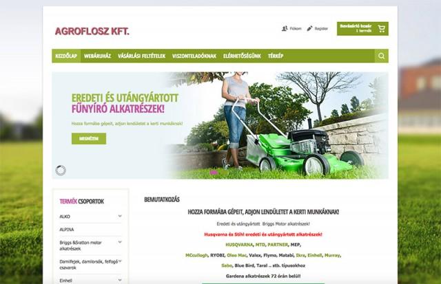 Joomla 1.0 webáruház frissítése és felújítása az Agroflosz alkatrészkereskedelem számára