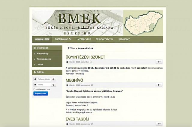 Weboldal megújítás a Békés Megyei Építész Kamara számára