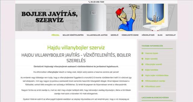 """Weboldal frissítés a """"bojler-javitas.hu"""" vállalkozás számára"""