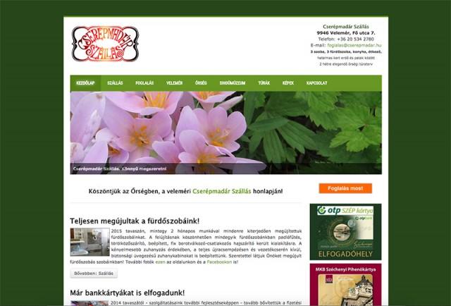 Weboldal felújítás a Cserépmadár magánszálláshely részére