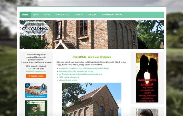 Weboldal frissítés a Csinyálóház magánszálláshely részére