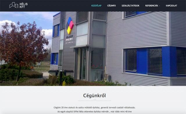 Weboldal készítés a Hélis Kft. építőipari vállalkozás részére