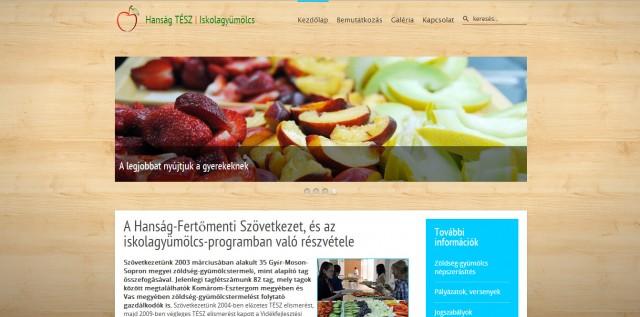 A Hanság-TÉSZ Iskolagyümölcs weboldala
