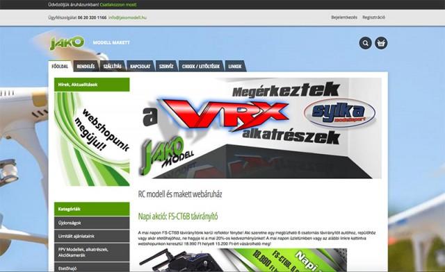Joomla 2.5-ös alapon működő webáruház felújítása a Jakomodell vállalkozás részére