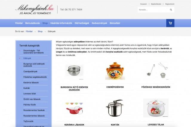 Joomla weboldal és Virtuemart webshop frissítés a mikonyhank.hu vállalkozás részére