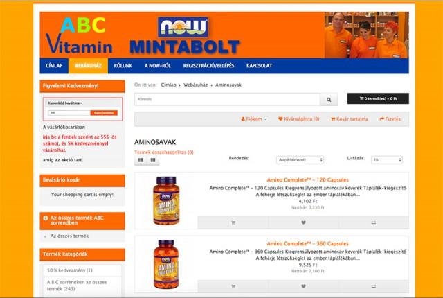 Joomla weboldal és Webshop felújítás a Vitamin ABC vállalkozás számára