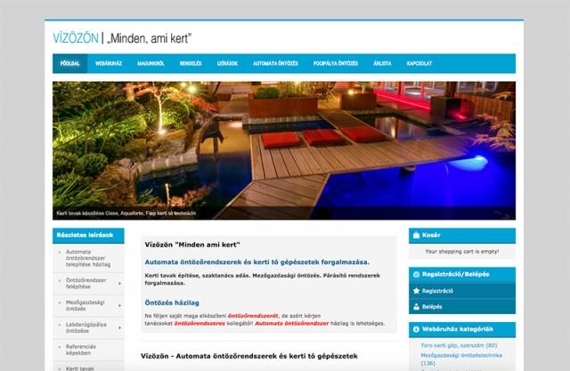 Joomla 2.5-ös weboldal és Virtuemart webshop megújítása a Vízözön vállalkozás részére